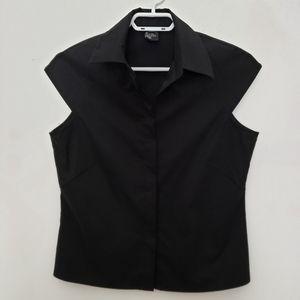 Kensie black blouse  cat sleeve, crop, button fron